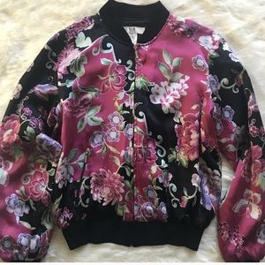 Vintage Silk Butterfly Bomber Jacket 🦋